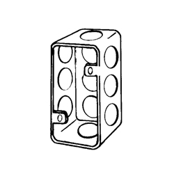 Appleton® 4SS Handy Box With Conduit Knockout, 7 cu-in, 11 Outlets, 11 Knockouts, Steel