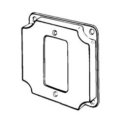Appozgcomm 8362 Square Box Cover, 4 in L x 4 in W x 1/2 in D, Steel