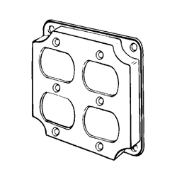 Appozgcomm 8371N Square Box Cover, 4 in L x 4 in W x 1/2 in D, Steel