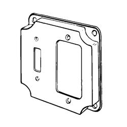 Appozgcomm 8374 Square Box Cover, 4 in L x 4 in W x 1/2 in D, Steel