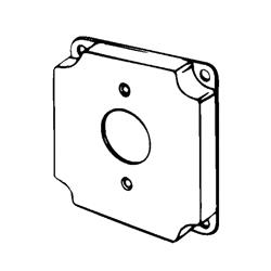 Appozgcomm 8379 Square Box Cover, 4 in L x 4 in W x 1/2 in D, Steel
