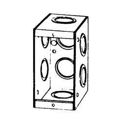 Appozgcomm M1-250 Non-Gangable Masonry Box, Steel, 15.5 cu-in, 1 Gang, 8 Outlets, 8 Knockouts