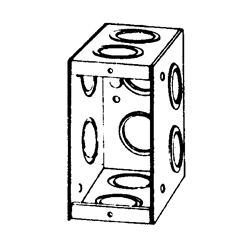 Appozgcomm M1-350 Non-Gangable Masonry Box, Steel, 22 cu-in, 1 Gang, 10 Outlets, 10 Knockouts