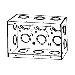 Appozgcomm M3-250 Non-Gangable Masonry Box, Steel, 46.5 cu-in, 3 Gangs, 16 Outlets, 16 Knockouts