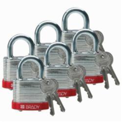 BRADY 51279 BRADY STEEL PADLOCK, 0.75 IN KD RED 6/PACK
