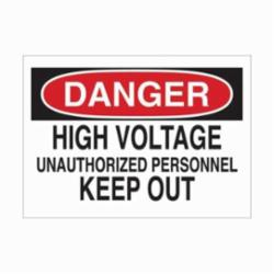 BRADY 84085 DANGER HI-VOLTAGE SIGN