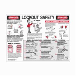 Brady® LOSP8 Prinzing® Rectangle Lockout Safety Poster, LOCKOUT SAFETY, English, Black/Red on White, 18 in H x 24 in W
