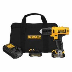 DeWALT® DCD710S2 Compact Lightweight Cordless Drill/Driver Kit, 3/8 in, 12 VDC, Lithium-Ion/Integrated Battery