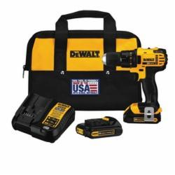 DeWALT® DCD780C2 Compact Lightweight Cordless Drill/Driver Kit, 1/2 in, 20 VDC, Lithium-Ion/Integrated Battery