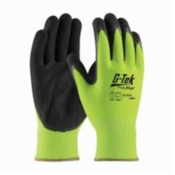 PIPR 16-340LG/L G-TEK CR HPPE/GLASS 13 GAUGE HI-VIS LIME GREEN SEAMLESS KNIT LINER DOUBLE DIPPED BLACK MICRO-SURFACE NITRILE COATED PALM