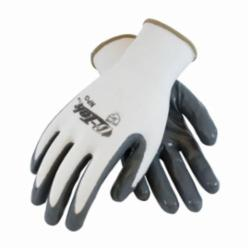 G-Tek® NPG 34-225 Solid Dipped Palm and Fingers Coated Gloves, M, Nylon Palm, White/Gray, Seamless