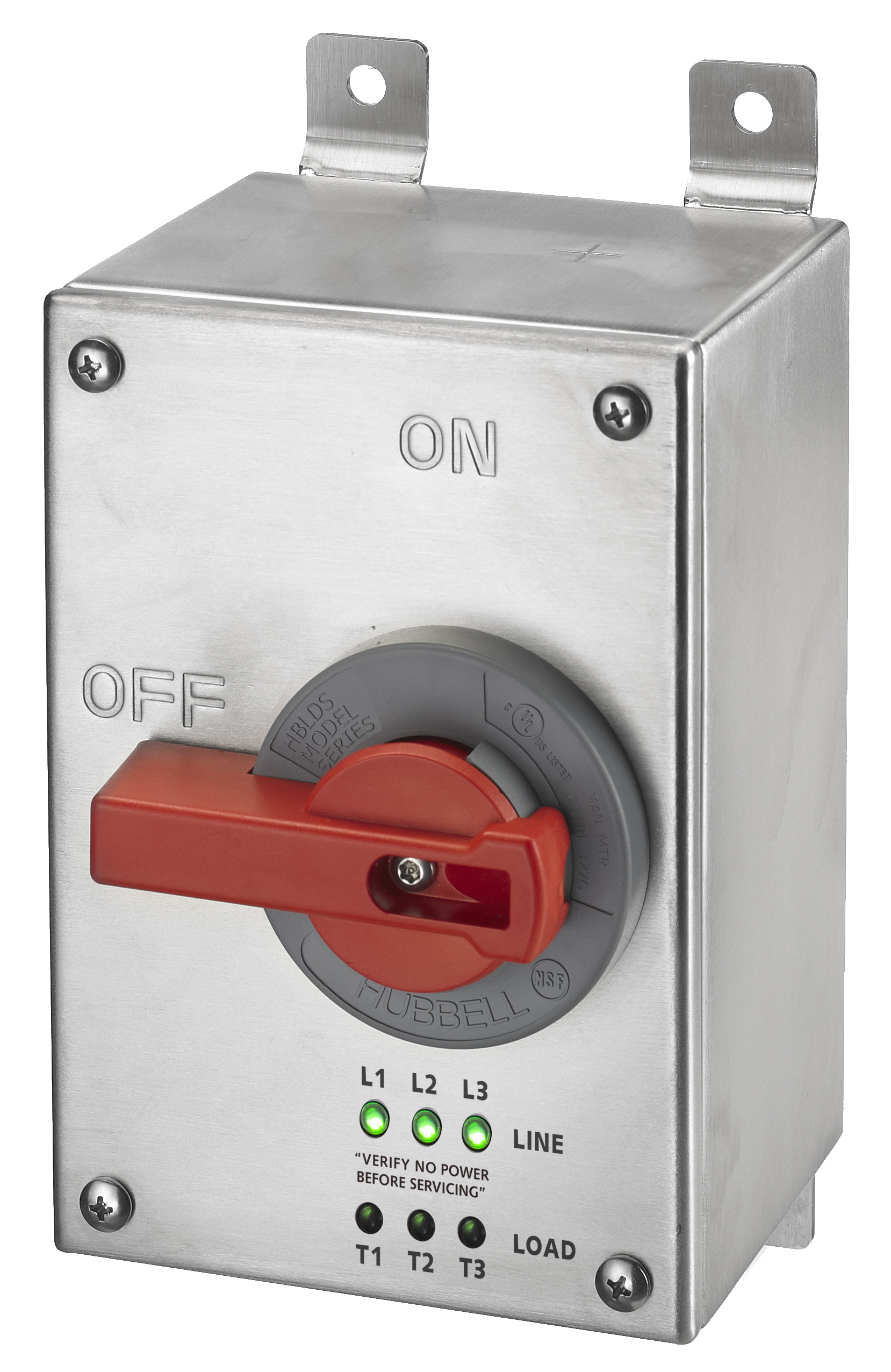 HUBBELL HBLDS3SSPJ DISCONNECT, UN-F, 30A, 4X, STAINLESS STEEL, LED, JOG SWITCH
