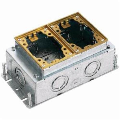 Hubbell Wiring Device-Kellems B2432 B24 Deep Fully Adjustable Floor Box, Stamped Steel, 52.8 cu-in, 2 Gangs, 7 Knockouts