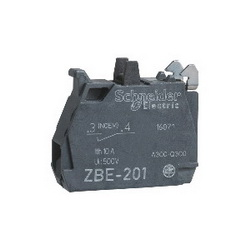 Schneider Electric Harmony™ ZBE101 ZBE Slow Break Contact Block, 1 Poles, 1NO, 10 A at 600 VAC, For Use With ZB4, ZB5 and ZBE Series Pushbutton Switches, Silver Alloy Contact