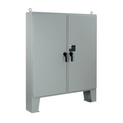 Hoffman A62H6012LP3PT Two-Door Electrical Enclosure With Floor Stand, 62.06 in L x 60.06 in W x 12.06 in D, Steel