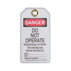 Ideal Industries Lockout Tag,Ideal,Heavy-Duty Laminated,PKG: 5/Card