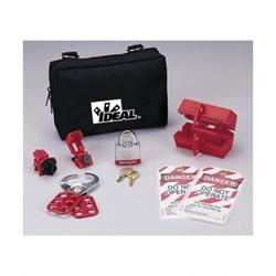 Ideal® 44-973 Standard Lockout/Tagout Kit, Black/Red, Nylon Zipper