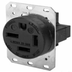 Hubbell Wiring Device-Kellems SGL RCPT, 3P4W, 50A 3PH 250V,15-50R,BK