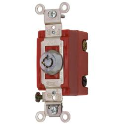 Wiring Device-Kellems HBL1223RKL 3-Way Extra Heavy Duty Keylock Switch, 120/277 VAC, 20 A, 2 hp