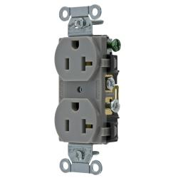 HUBW CR20GRY DUP RCPT, COMM GRD, 20A 125V, 5-20R, GY