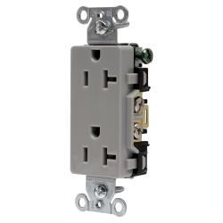 HUBW DR20GRY DECO RCPT, COMM GRD, 20A 125V, 5-20R, GY