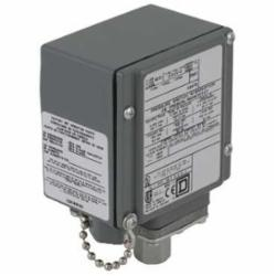 Square D 9012GDW25 PRESSURE SWITCH 480VAC 10AMP G +OPTIONS,-10...185 deg.F,0.25 inch 18 NPTF conforming to UL 508,0.5 inch NPT conduit entrance,120 operating cycles per minute (max),150 psi,3...150 psi,DPDT (isolated),Fixed Differential,NEMA 4/4X/13,Pressure Switch,Single Stage,UL, CSA, IEC, CE-marked,Water tight, Dust tight, Oil tight and Corrosion Resistant (Indoor/Outdoor),air-hydraulic oil (-40...250 deg.F)-non-corrosive liquids-non-corrosive gas