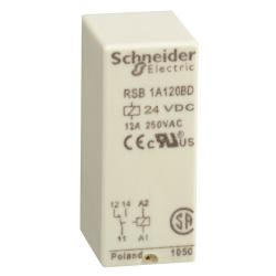Schneider Electric RSB1A120BD PLUG-IN RELAY 250VAC 12AMP RSB +OPTIONS,(NO) AC 12ms DC 9ms (NC) AC 10ms DC 4ms,-40...85 deg.C (DC),1 C/O,1440 Ohm (AC) at 20 deg.C +/- 10 ,24 VDC,600 operating cycles/hour,IP 40 conforming to IEC/EN 60529,Plug-In Socket,Printed Circuit Board (PCB),UL Recognized Component - CSA Certified - CE Marked - RoHS Compliant,interface relay,plug-in relay