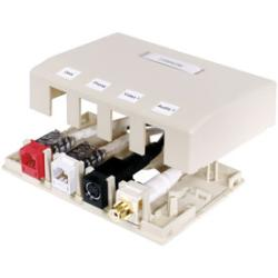 HUBP ISM4OW 4-PORT SURFACE MOUNT BOX OFF/WHITE