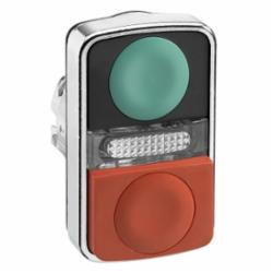 Schneider Electric ZB4BW7L3740 METAL ILLUM FLUSH/PROJ TWO BUTTON PILOT GREEN/,(1)Green - (1)Red Unmarked,22mm Rectangular,Dual Button (1)Flush and (1)Extended (with central pilot light),Harmony,Momentary,Non-Illuminated,Pushbutton Operator,UL Listed File Number E164353 CCN NKCR - CSA Certified File Number LR44087 Class 321103 - CE Marked