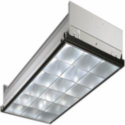 LITH 2PM3NGB33218LDMVOLT1/3GEB10IS 2X4 3 LAMP T8 INSTANT START FLUORESCENT PARABOLIC LAY IN FIXTURE, 120-277V