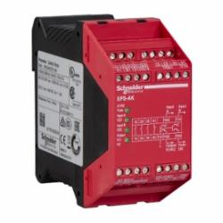 Schneider Electric XPSAK351144 SAFETY RELAY 300V 5AMP PREVENTA +OPTIONS,24 V DC,3 LED Indicators -14 to 130 Degrees F,3 N.O. (Instantaneous) 1 N.C. - 4 Solid State,35 mm symmetrical DIN rail,EN 954-1 Category 4,Preventa,Preventa Safety automation,for emergency stop, switch, sensing mat/edges or safety light curtain monitoring,Preventa safety module,Terminal Block (non-removable) Screw Clamp