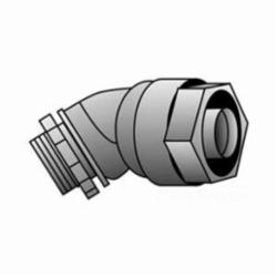 O-Z/Gedney 4Q-475 Liquidtight Conduit Connector, 3/4 in Trade, 45 deg, Malleable Iron, Zinc Electroplated