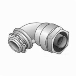 O-Z/Gedney 4Q-950 Liquidtight Conduit Connector, 1/2 in Trade, 90 deg, Malleable Iron, Zinc Electroplated