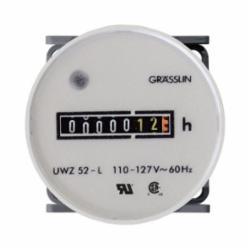 INT-MAT UWZ52E-120U AC Hour Meters Round 52mm Flush Mount, Combo Terminals, 120V, 60Hz