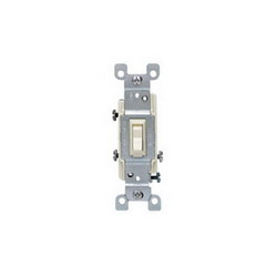 Leviton® 1453-ICP 3-Way Toggle Switch, 120 VAC, 15 A, 1/2 hp