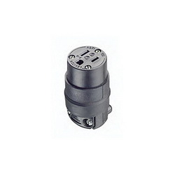 Leviton® 515CR Straight Blade Connector, 125 VAC, 15 A, 2 Poles, 3 Wires, Black