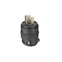 Leviton® 515PR Straight Blade Plug, 125 VAC, 15 A, 2 Poles, 3 Wires, Black