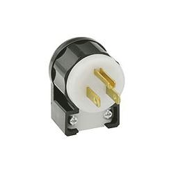 Leviton® 5266-CA Angled Straight Blade Plug, 125 VAC, 15 A, 2 Poles, 3 Wires, Black/White