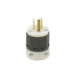 Leviton® 5266-PLC Straight Blade Plug, 125 VAC, 15 A, 2 Poles, 3 Wires, Black/White