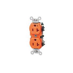 Leviton® 5362-IG Straight Blade Duplex Receptacle, 125 VAC, 20 A, 2 Poles, 3 Wires, Orange