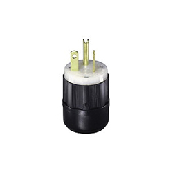 Leviton® 5366-C Straight Blade Plug, 125 VAC, 20 A, 2 Poles, 3 Wires, Black/White