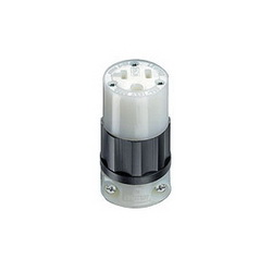 Leviton® 5369-C Straight Blade Connector, 125 VAC, 20 A, 2 Poles, 3 Wires, Black/White