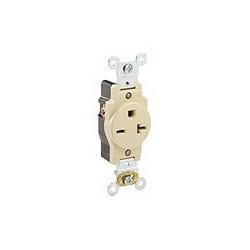 Leviton® 5461-I Straight Blade Single Receptacle, 250 VAC, 20 A, 2 Poles, 3 Wires, Ivory