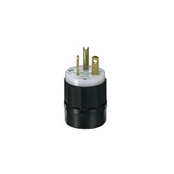 Leviton® 5466-C Straight Blade Plug, 250 VAC, 20 A, 2 Poles, 3 Wires, Black/White