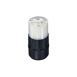 Leviton® 5469-C Straight Blade Connector, 250 VAC, 20 A, 2 Poles, 3 Wires, Black/White
