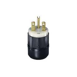 Leviton® 5666-C Angled Straight Blade Plug, 250 VAC, 15 A, 2 Poles, 3 Wires, Black/White