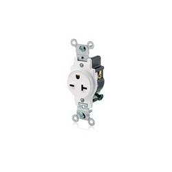Leviton® 5821-W Straight Blade Single Receptacle, 250 VAC, 20 A, 2 Poles, 3 Wires, White