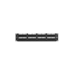 Leviton® 69586-U48 110-Style Flat Universal Patch Panel, 48 Ports, Cat 6, 26 to 22 AWG Terminal, Steel