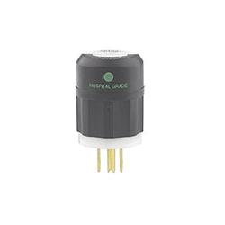 Leviton® 8215-C Straight Blade Plug, 125 VAC, 15 A, 2 Poles, 3 Wires, Black/White