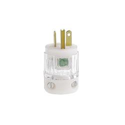 Leviton® 8315-CT Straight Blade Plug, 125 VAC, 20 A, 2 Poles, 3 Wires, Transparent